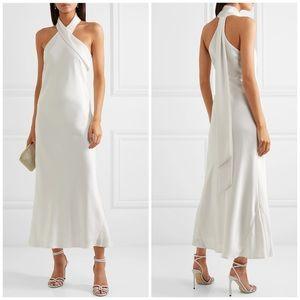 GALVAN Pandora Asymmetrical Bias Satin Midi Dress